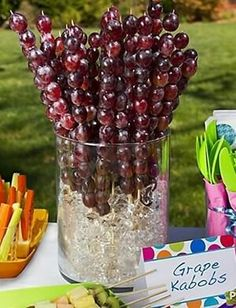 North {fruit} poles from Pooh's 'Expotition' grape kabobs - cute party idea; freeze them for the summer time! Wine And Cheese Party, Wine Tasting Party, Wine Cheese, Wine Tasting Events, Grad Parties, Holiday Parties, Birthday Parties, Summer Parties, Wine Birthday