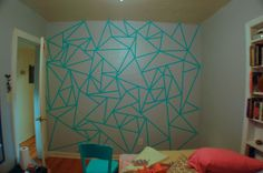 Dave Occhinoman posted wall design made using masking tape. perfect for dorm life. to their -For College- postboard via the Juxtapost bookmarklet. Diy Wand, Masking Tape Wall, Washi Tape, Deco Design, Wall Design, Wall Paint Patterns, Triangle Wall, Geometric Wall Art, Geometric Shapes