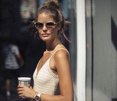 alenablohm Off to Santorini ✈️ Bye steamy NY! Storm London, Alena Blohm, Sunnies, Crochet Top, Camisole Top, Street Style, Tank Tops, Dresses, Messy Buns
