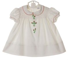 Polly Flinders white smocked dress with red and green embroidery,baby girls white smocked Polly Flinders dress,white smocked Polly Flinders Christmas dress,baby girls white smocked Christmas dress Baby Girl Christmas Dresses, Baby Girl Dresses, Smocked Baby Clothes, Child Fashion, Smock Dress, Summer Baby, Lovely Dresses, Baby Sewing, Embroidered Flowers