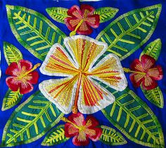 embroidered cook island hibiscus tivaeva by jai appleblossom, via Flickr
