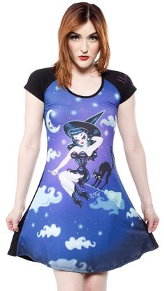 KREEPSVILLE 666 HEX KITTEN FLARE DRESS - Get ready to cast some devious hexes. The Kreepsville 666 Hex Kitten Flare Dress is simply bewitching - with a figure flattering fit, capped sleeves, and artwork from the fabulous Miss Fluff on the front.