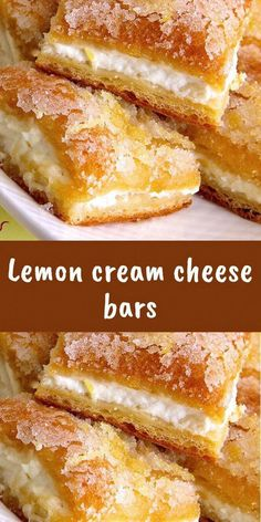 Lemon cream cheese bars Lemon cream cheese bars are a variation of the tradition. - Dessert Recipes - Lemon cream cheese bars Lemon cream cheese bars are a variation of the tradition… – - Lemon Desserts, Lemon Recipes, Easy Desserts, Baking Recipes, Sweet Recipes, Cookie Recipes, Dessert Recipes, Breakfast Recipes, Dessert Bars