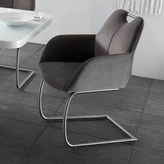 Freischwinger Set In Grau Stoff Edelstahl | Küche Und Esszimmer U003e Stühle  Und Hocker U003e Freischwinger