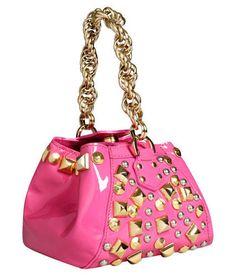 a333675494 Versace H M Black Bag Handle Gold Purse Pink Leather Handbag Studded Chain  MMM