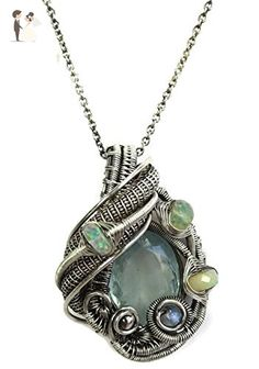 Natural Aquamarine Gemstone Wire-Wrapped Necklace in Antiqued Sterling Silver with Ethiopian Welo Opals & Rainbow Moonstone - Wedding nacklaces (*Amazon Partner-Link)