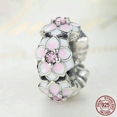 Fiore di Magnolia rosa con CZ rosa Spacer 100% argento sterling 925 adatta misure Pandora charm Pandora bead e Braccialetto europeo SC080 di OceanBijoux su Etsy