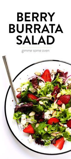 Strawberry Salad with Burrata, Almonds and Basil Vinaigrette