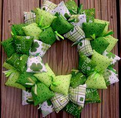 Lucky Irish Handmade Fabric Wreath   SooBoo - Seasonal on ArtFire