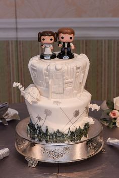 The force is strong with this Star Wars inspired wedding cake....