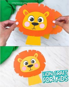 This easy lion craft for kids is a perfect activity to do for zoo animal themes, wild animal themes or jungle animal themes! It comes with a free printable template and is great for creating with preschool, kindergarten and elementary children.   #simpleeverydaymom #lioncrafts #animalcrafts Animal Crafts For Kids, Toddler Crafts, Diy Crafts For Kids, Gifts For Kids, Fun Crafts, Art For Kids, Kindergarten Activities, Craft Activities, Preschool Crafts