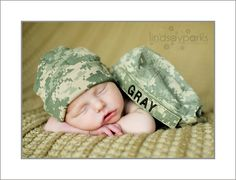 Baby in army hat!