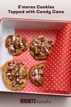 Who doesn't love winter S'more Fun with HERSHEY'S S'mores Cookies topped with Candy Canes? Made with HERSHEY'S Milk Chocolate Bars, marshmallows, graham crackers, and crushed candy canes, these cookies are a creative treat your kids will love this winter. Use leftover candy canes from the holidays!