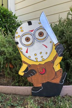 Despicable Me Minion as Jason Lawn Art - Sign- Excellent for Halloween/Fall by TheRubyPigdotcom on Etsy Outside Halloween Decorations, Halloween Backdrop, Halloween Wood Crafts, Halloween Rocks, Halloween Christmas, Halloween House, Halloween 2020, Holiday Decorations, Halloween Crafts