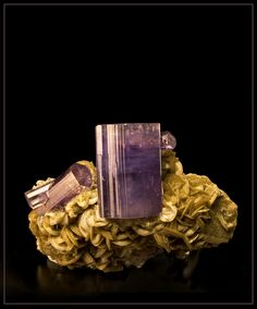 pictures of gems and minerals of portugal | Apatite on Siderite Panasqueira Portugal purple cabinet specimen