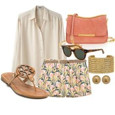 So cute!! Patterned shorts sheer white top, Tory Burch sandals, sunglasses, jewelry and clutch. Summertime fancy