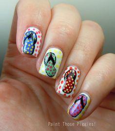 Polka Dot Flip Flops Nail Art | Beaches, Polka dots and Flip flops