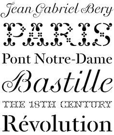 Der französische Stempelvirtuose Jean Gabriel Bery schuf einen Satz dekorativer Stempel-Schriften der 1781 von Benjamin Franklin erworben wurde. 2012 digitalisierte Fred Smeijers die Stempelschriften von Bery http://www.fontshop.com/search/?q=Bery%20OurType