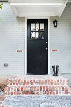 I love this combo - so classic! stamped concrete and antiqued brick patio | maisondepax.com