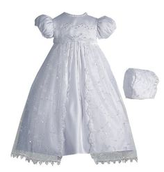 Lauren Madison baby girl Newborn Christening Baptism Special occasion Organza Split Front Skirt Over Bridal Satin dress gown , White, 6-9 Months