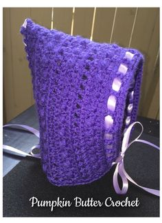 Purple Pixie Bonnet - 6 months to Toddler Size - Lavender Ribbon, Corset Detail, Bow by PumpkinButterCrochet on Etsy https://www.etsy.com/listing/400634229/purple-pixie-bonnet-6-months-to-toddler