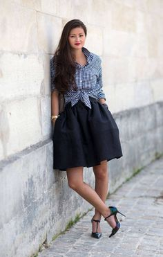 Note - steal man friend's gingham shirt. - Street Style Paris Fashion Week Spring 2014