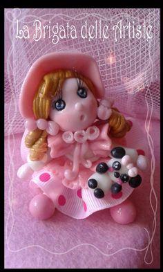bambolina realizzata in pasta di mais, porcellana fredda, porcelana fria