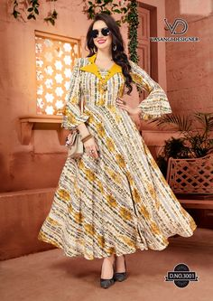 Rangat By Vasangi Designer Premium Reyon Party Wear Kurtis Collection Gowns For Girls, Dresses Kids Girl, Indian Gowns Dresses, Long Dresses, Striped Dress Outfit, Kurti Sleeves Design, Pakistani Fashion Casual, Party Wear Kurtis, Dress Neck Designs