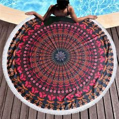 The Blue Mandala towel is unique, beautiful and perfectly sized at inches) in diameter. It's the ultimate companion for beach days, pool parties and styling around the home. Blue Tapestry, Mandala Tapestry, Mandala Towel, Beach Blanket, Beach Day, Beach Towel, Outdoor Blanket, Shell, Fun