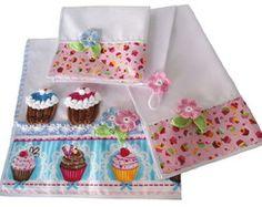 Super Pano de Fogão + 2 Bate Mão Cupcake Cupcake, Napkins, Tableware, Kitchen, Kitchen Playsets, Drop Cloths, Dinnerware, Cooking, Towels
