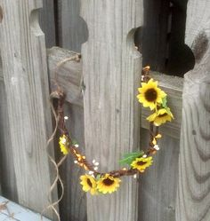 Sunflower headpiece hair wreath yellow by BudgetWeddingBouquet