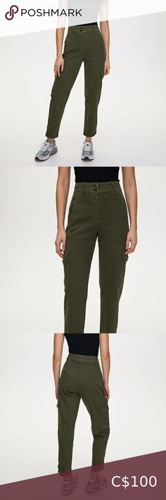 NWT Aritzia Wilfred-Free Modern Cargo Pant BRAND NEW WITH TAGS, perfect condition - high waisted cargo pant   Colour: Gd Fatigue   Decided to sell because I didn't like the colour anymore.    Price is non-negotiable   Size: 00 please visit site for sizing reference   Features:  - ankle tabs with button closures  - front welt pickets; have not been cut   Materials: - fabric from turkey  - 97% cotton, 2% polyester, 1% elastane Aritzia Pants & Jumpsuits Cargo Pants, Khaki Pants, Strapless Romper, Ribbed Cardigan, Black Leather Loafers, Silk Pants, Size 00, Pant Jumpsuit, Dresses For Work