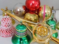 Mid Century Christmas Ornaments and Topper Lot of 15