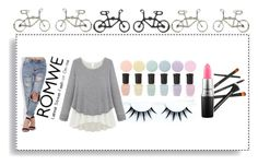 """""""Loose Grey Sweater -- Romwe Contest"""" by pink-wednesdays ❤ liked on Polyvore featuring Deborah Lippmann, MAC Cosmetics and romwe"""