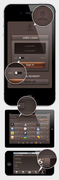 Mobile App | Dark Amber UI - Web User Interface Kit - DesignModo