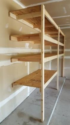 Very easy garage shelving how to garage design buildings Diy Garage Storage Shelves, Wooden Garage Shelves, Garage Organization Tips, Overhead Garage Storage, Garage Shelf, Garage House, Shed Storage, Organizing, Woodworking Bench