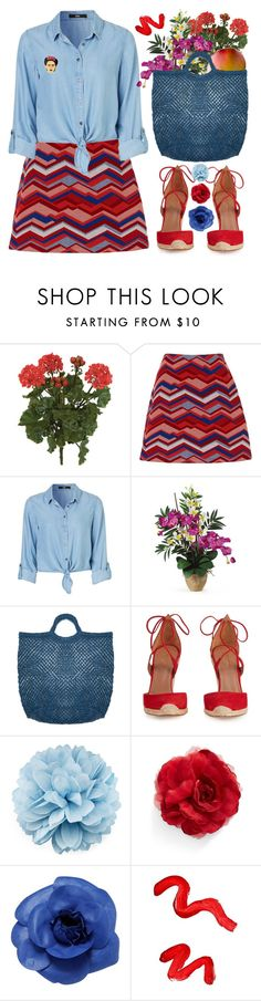 """""""Frida"""" by foundlostme ❤ liked on Polyvore featuring Nearly Natural, MANGO, Aquazzura, Gucci, Cara, Chanel, Topshop, Georgia Perry, pins and fridakahlo"""