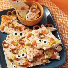 Wilton Fright Eyes Candy Bark from @officialacmoore.  This delicious Halloween bark won''t just get lots of stares, it''ll give them right back! All your party peeps will love the pretzels, sprinkles jimmies and candy corn treats, but hurry up and grab them before Halloween because the Candy Corn Candy Melts are only available for a limited time!