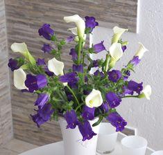 Blue Magic - Blumenabo von StarFlower Dieser Blütenzauber aus blauen Glockenblumen und eleganten weißen Callas lässt die Herzen höher schlagen. Star Flower, Flowers, Plants, Creative, Plant, Royal Icing Flowers, Flower, Florals, Floral