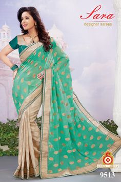 Teal Green and Beige Faux Georgette and Art Silk Saree with Blouse  Now, place your Order now : whatsaap ↪ + 91- 9820936178 Email:- raksha@silk-india.com