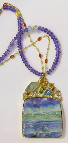 Boulder opal pendant with topaz, aquamarine, peridot, orange sapphire, spessartine garnet, in 22k and 18k gold. Hanging on a tanzanite beads and 18k orange sapphire chain. Opals from Bill Kasso. http://www.kalledjewelrystudio.com/products/boulder-opal-pendant