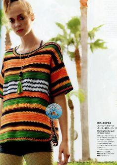 Crochetemoda: Blusa de Crochet Colorida