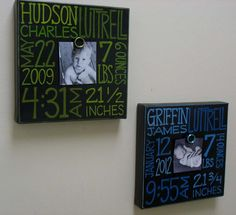 Baby Boy Birth Information Canvas Frame by NatalieKingArt on Etsy, $48.00