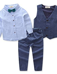e549bf6b98469   21.73  Toddler Boys  Active Party   Daily Solid Colored Long Sleeve  Regular Regular Cotton   Polyester Clothing Set Blue. 4 YearsOutfit ...