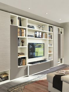 For large room Living Room Wall Units, Living Room Built Ins, Living Room Tv Unit Designs, Home Living Room, Living Room Decor, Tv Wall Design, Design Case, Modern Tv Wall Units, Tv Unit Furniture