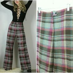 """Vintage 70s Plaid Pants 70s vintage trousers in a gorgeous plaid. Well tailored with a cuff at hem. Unlined.  Zipper/button closure at waist. 78% acrylic/22% linen. Made in Thailand. Vtg size 12. Estimated fit s/m. Waist 27"""" 