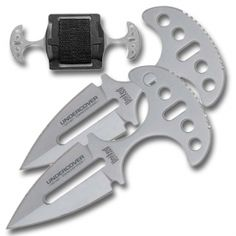 Our undercover twin push daggers comes with two identical push daggers in an abs plastic case that fits over your belt buckle with a Velcro strap.  Each dagger measures 3 3/4 inches overall with a 2 3/4 inch blade.  These push blades are very durable because they are made from stainless steel.  They are extremely sharp and have a high quality machined finish that's available in either bare metal or flat black.  Our push daggers would be a great addition to a combat or tactical weapons set.