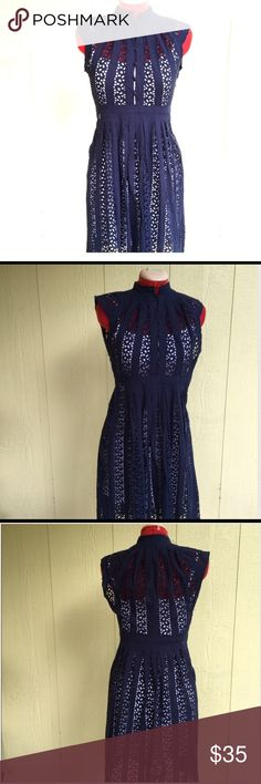 Navy Button Up Dress ❤️5 front buttons❤️side zipper❤crochet/see through look❤️slip not included❤️normal wear: is in great shape❤️bust: 14.5'❤️length: 38'. Dresses Midi
