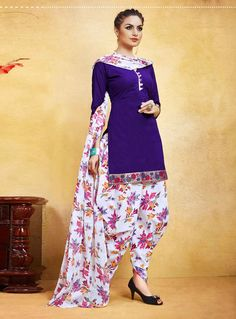 Buy Purple Cotton Patiala Suit 85943 online at lowest price from huge collection of salwar kameez at Indianclothstore.com.