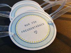 Gastgeschenke - Nur für Freudentränen, 10 Stück in weiß/türkis - ein Designerstück von KW16 bei DaWanda